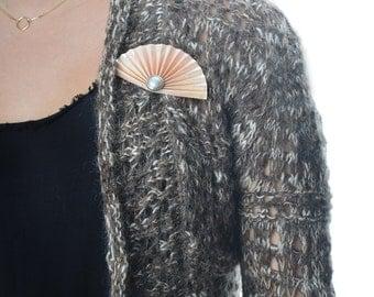 Art Paper Brooch, Fan Brooch, Paper Brooch, Origami Brooch, Paper Pin, Pink, Pearl, 58432