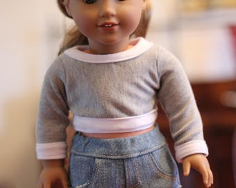 "18"" Doll Grey Ringer Long Sleeve Shirt"