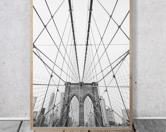 New York Brooklyn Bridge Print, Digital Download, Black and White Photography, Scandinavian Poster, Bridge Photo Download, USA
