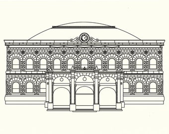 Leeds Corn Exchange Postcard Illustration - Architecture Print - Leeds Art