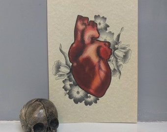 Heart & Flowers Print