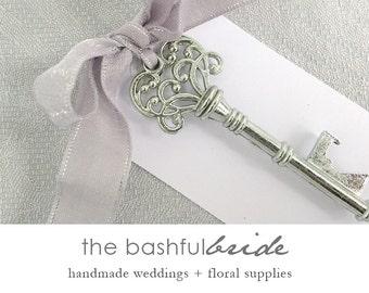 Rustic wedding favors, 20 colors, skeleton key bottle opener, bachelorette party favor, shower favor, bridal shower favor