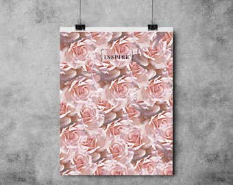 Inspire -  Black/Pink- (A4/A3) - Print / Roses / Inspirational / Motivational