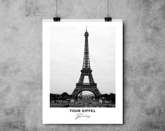 Tour Eiffel - Black and White Print - Paris - A4/A3 - Postcard / Print / Poster / Landmark / Eiffel Tower / France