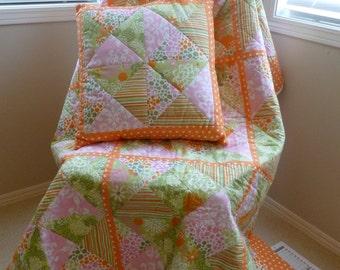 Orange Picnic Quilt with Pillow