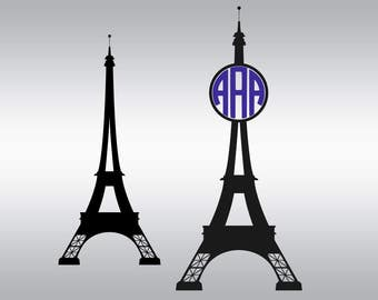 Eiffel Tower monogram SVG Clipart Cut Files Silhouette Cameo Svg for Cricut and Vinyl File cutting Digital cuts file DXF Png Pdf Eps