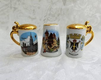 Lot of 3 German ceramic salt and pepper shakers, Munchen, Rothenburg