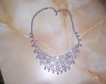 Gorgeous Bib Style Clear Rhinestone Necklace
