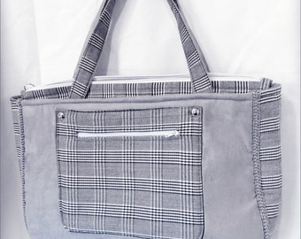 Handbag 2 handles - grey leather/alcantara and squared cotton by Patou