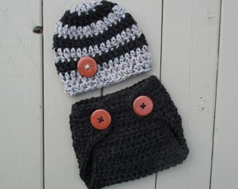 Newborn Outfit Newborn Boy Photo Outfit Baby Crochet Hat and Diaper Cover Costume Dark Grey Heather Newborn Photo Outfit Grey Marble Beanie