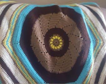 Circle crocheted throw