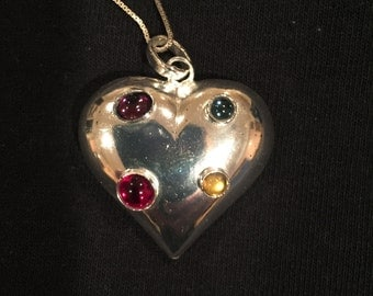 SIlver heart shaped necklace with color rhinestones on silver chain