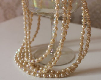 Vintage Faux Pearl and AB Crystal Layered Necklace 50's bombshell Dita von tease Burlesque Pinup boudoir marilyn monroe