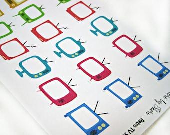 Planner Stickers - Retro TV Stickers - Happy Planner Stickers - Day Designer - Functional Stickers - TV Planner Stickers