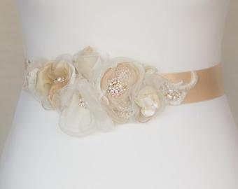 Champagne Bridal sash, wedding belt, Floral waist sash, Vintage belt, Floral bridal sash, floral wedding belt, Wedding belts sashes