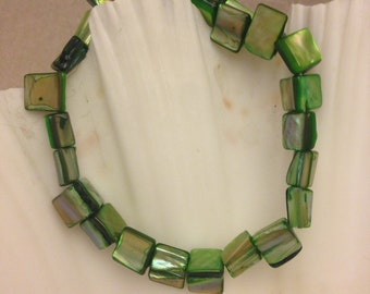 Vintage Dyed Green Shell Bracelet