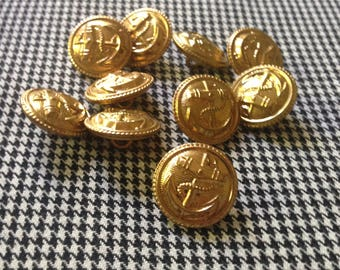 10 vintage gold anchor buttons