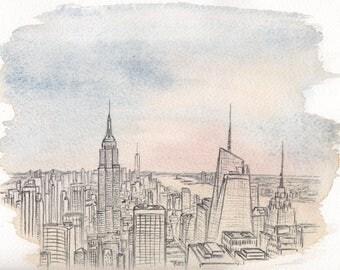 New York #1, biro on watercolour, manhattan, skyline, America, Original Artwork, ArtByShakespeare