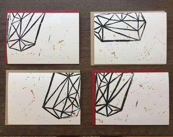 Set of 4 Abstract Block Printed Cards