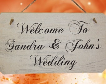 Personalised Wedding Welcome Sign - Rustic Wooden Signs - White Washed Finish