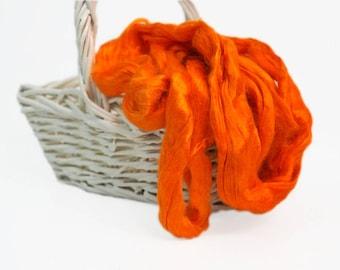 50g Orange Viscose Fiber, Tangerine Color Viscose, Wet Felting, Nuno Felting, Spinning, Knitting, Weaving, Felting Supplies