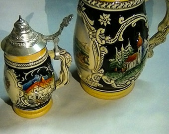 Set of two ancient ceramic beer Stein 1 x small, 1 x large