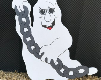 Happy Halloween! Halloween ghost. Made with MDO board. Halloween yard decor. Halloween yard art. Halloween decor