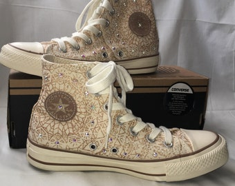 size 6 U.S converse chuck taylor shoes with swarovsky stones