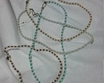Renaissance Style Glass Pearl Necklaces Choice of Spacers.