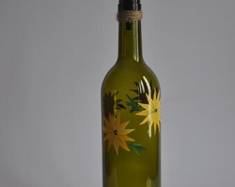 Olive Oil Dispenser - Hand Painted Yellow Floral on Light Green Wine Bottle