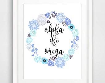 Custom Order for Samantha: Alpha Chi Omega Printable Wall Art, Floral Sorority Print, Greek Art, Great for Big Little Gifts