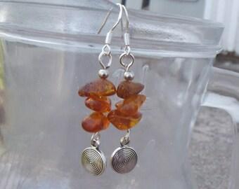 Viking Lagertha Amber Earrings - Norse Earrings - Viking Dangle Earrings - Baltic Amber Earrings - Long Dangle earrings - Historical Jewelry