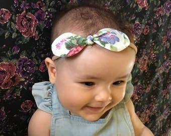 Baby, toddler, newborn, girls nylon floral bow knot headband accessories