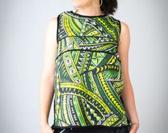 Top women, t-shirt tank top for women, ethnic Polynesian motif in green, back open and crossed, open back top, top, wax, top african ethnic