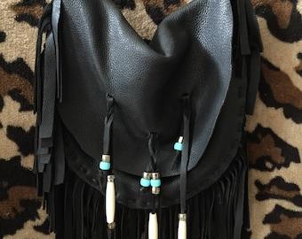 Black Leather Buckskin Beaded Bag