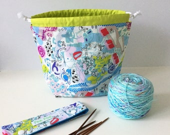 Sock Sack/Sock Project Bag/Small Project bag/Knitting Project Bag/Crochet Project Bag/Drawstring Project Bag- Day Dream