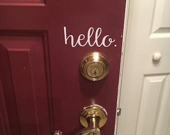 Hello Door Vinyl Decal