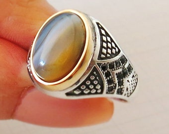 Handmade MEN's RING 925 STERLING silver agate #361