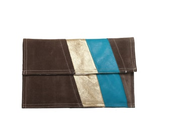 Pouch brown leather / gold / turquoise