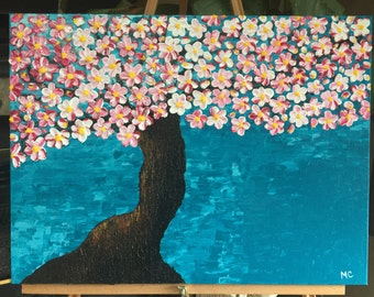 Spring painting of a blossoming tree