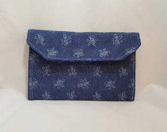 Denim clutch - Blue denim - White flowers clutch - Purse clutch - 3 pocket clutch - Denim 3 pocket clutch - Denim evening bag