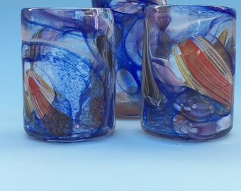 Ocean Motion Cups, set of four, glasses, cups, handblown, water cups, tumblers, glassblowing, home decor, Drinking Cup