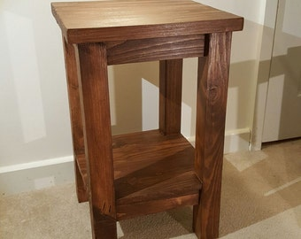 Solid Pine Wooden Lamp Table, Wood End Table, Side Table ( Dark Oak Style)