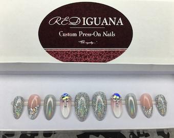 Glam Holographic Nails with Swarovski