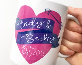 Personalised valentines love heart mug great for anniversary with est date and names watercolour heart
