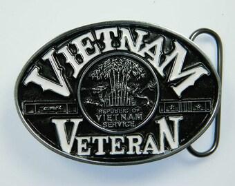 Vietnam Veteran Military Republic of Vietnam Service War Conflict POW MIA Belt Buckle