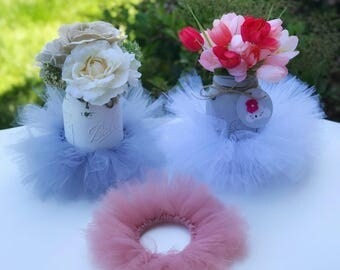 TUTUs ONLY for your Mason Jars. Listing ONLY for the tutus. Select your Tulle color. Wedding, Baby Shower, Birthday, Party, Gift