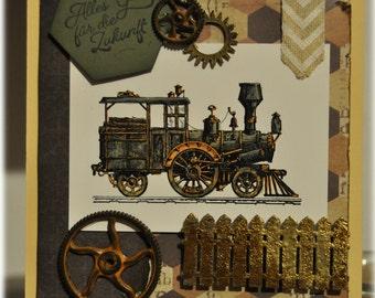 greeting card / birthday / birthday card / Mr map / gentleman card / locomotive / railway / steam engine / father's day / fathers day