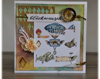 Greeting card / greeting card / birthday card / Zeppelin / balloon / aircraft / dirigible airship / square / with cover