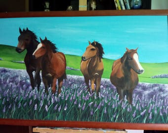 """Painting """"horses on Lavender meadow"""""""